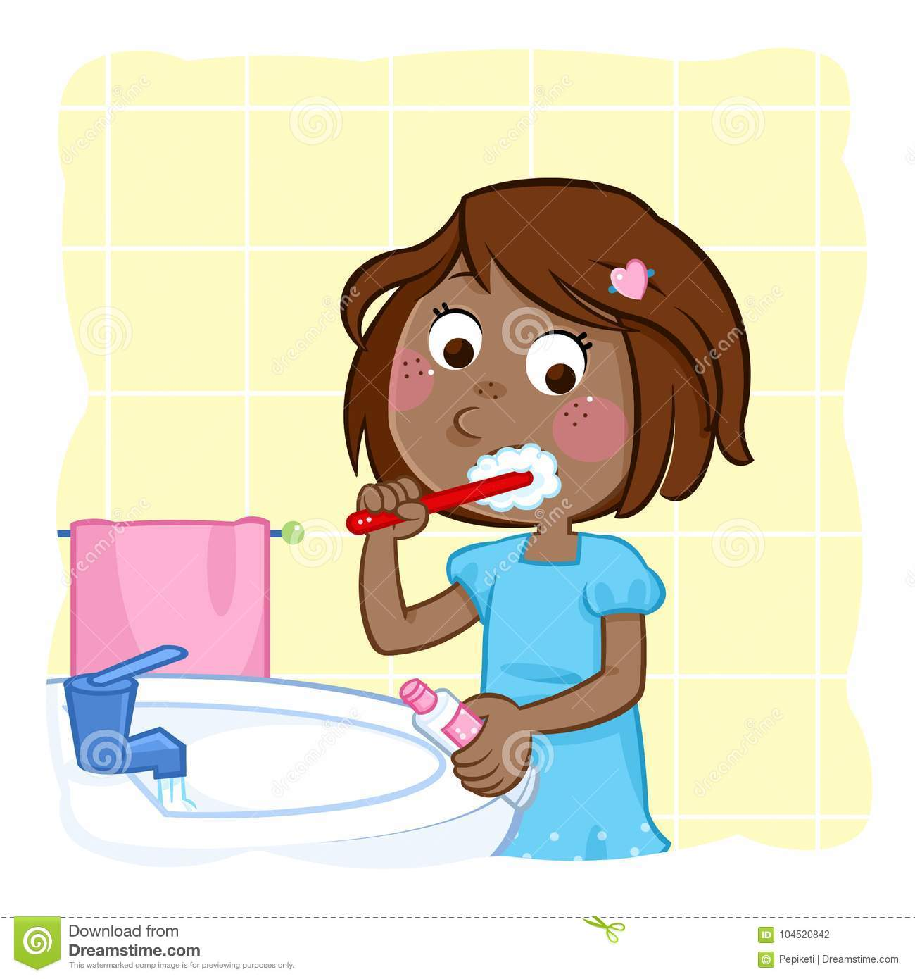 Tooth brushing - little black girl with dark brown hair in the bathroom