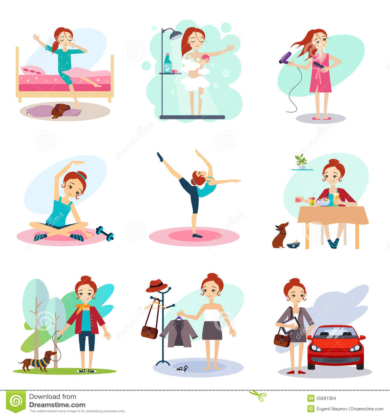 daily routine vector set with cute girl stock vector
