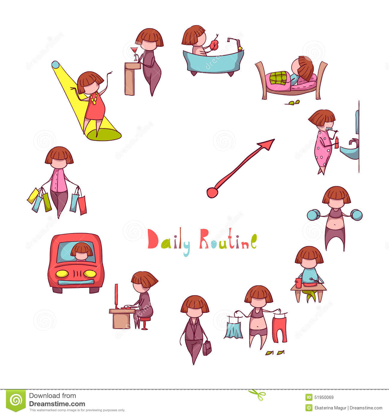 Daily Routine. Vector Set With Funny Girl Stock Vector