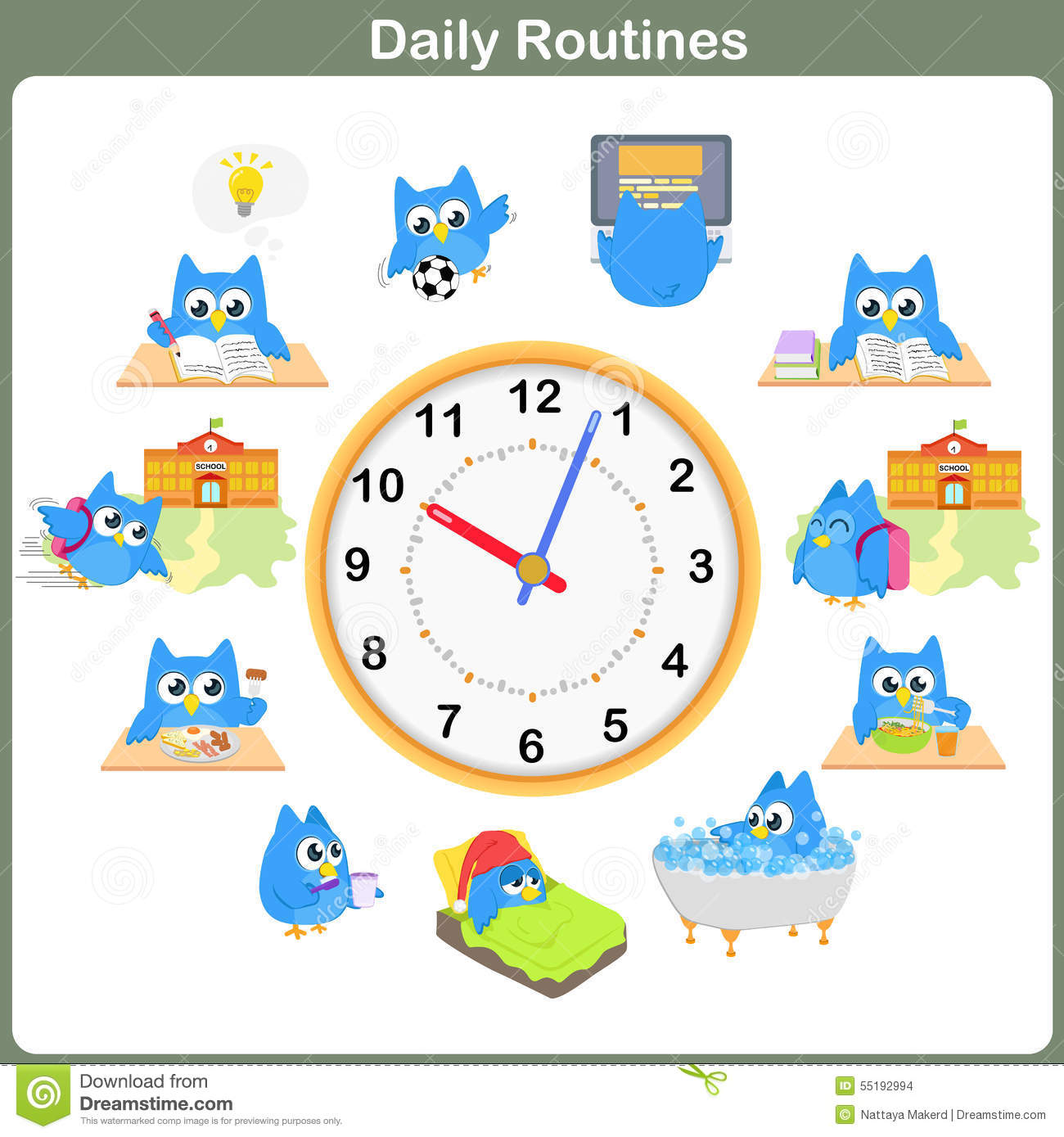 Daily Routines Sheet. - Worksheet Stock Vector - Image: 55192994