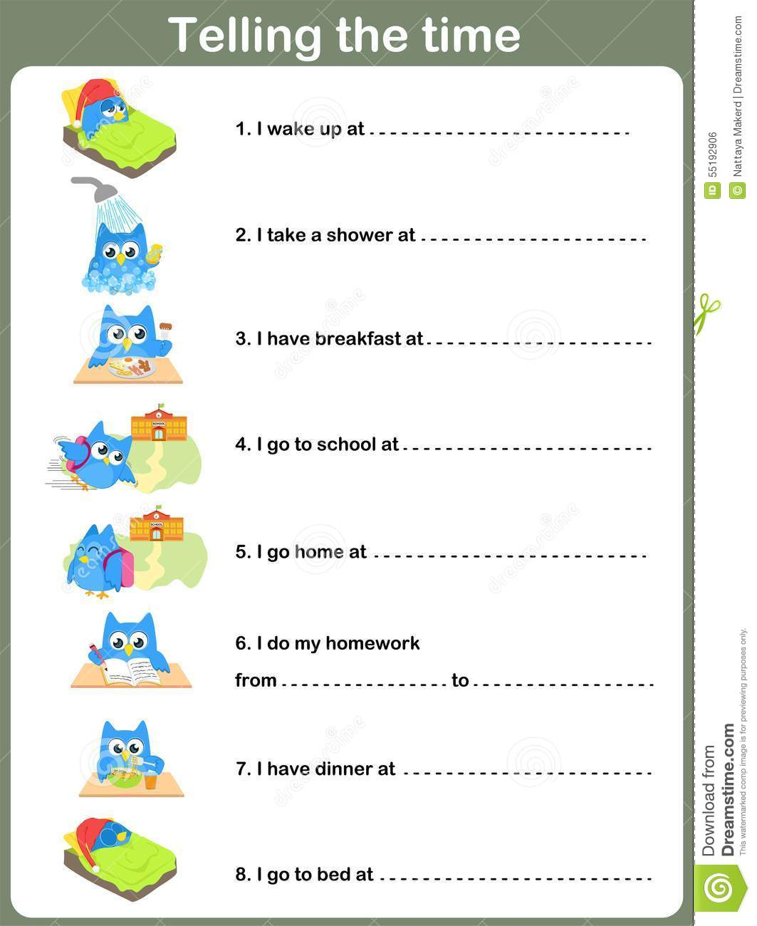 Daily Routines Worksheet. - Telling The Time Stock Vector - Image ...