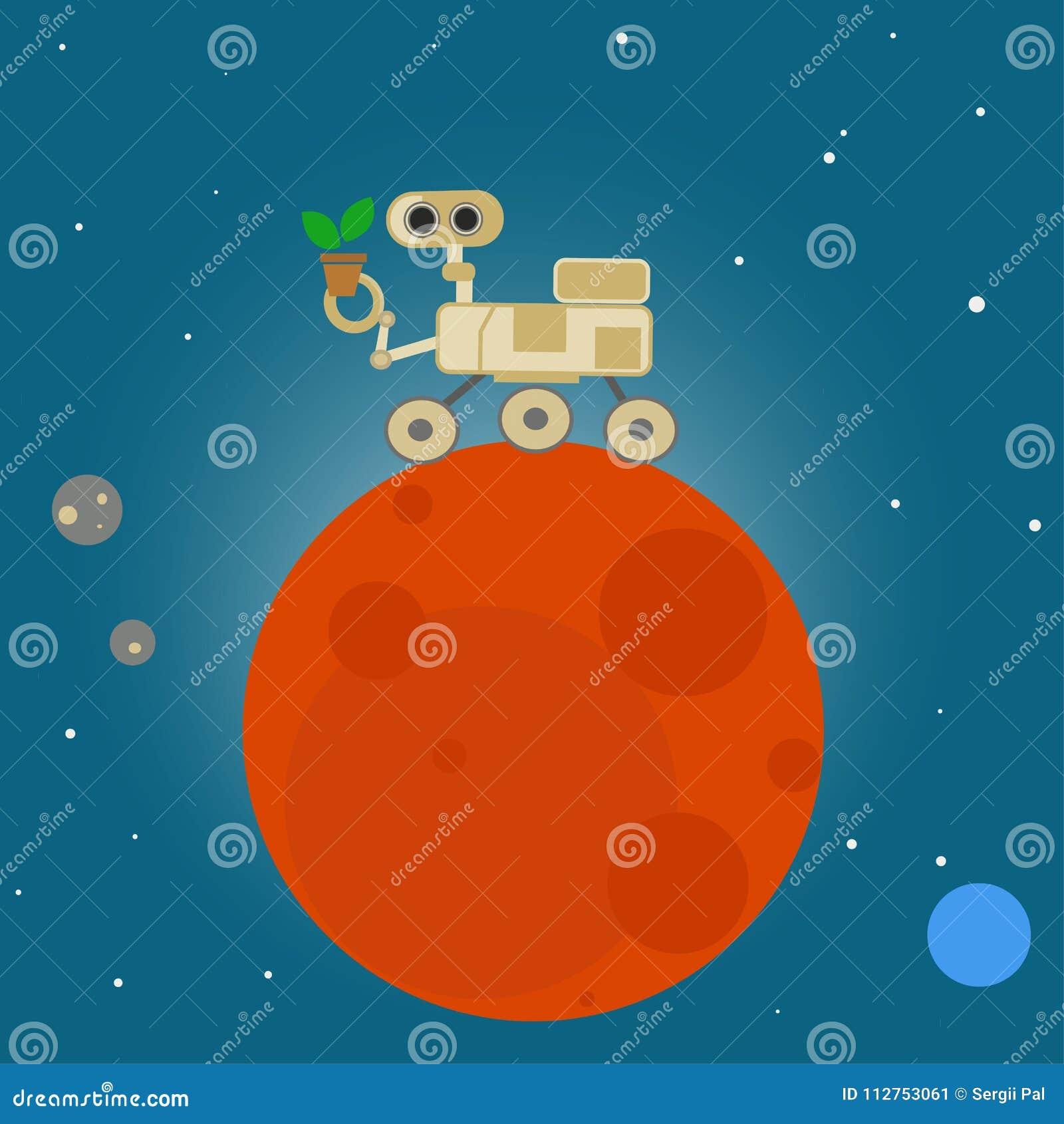 Rover On Mars In Cartoon Style Stock Vector - Illustration of