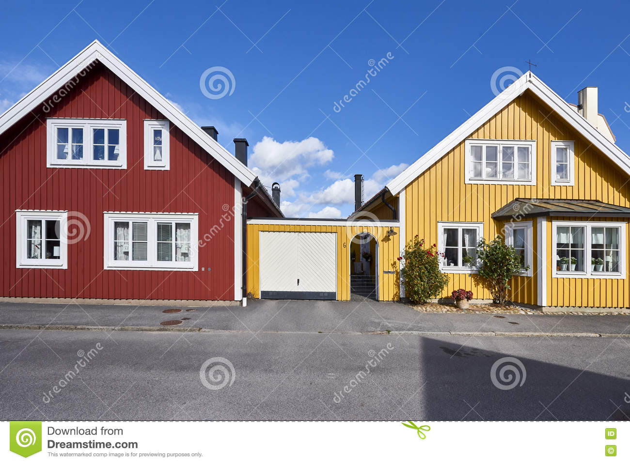 Row Of Ancient Colorful Wooden Houses In The City Karlskrona Sweden