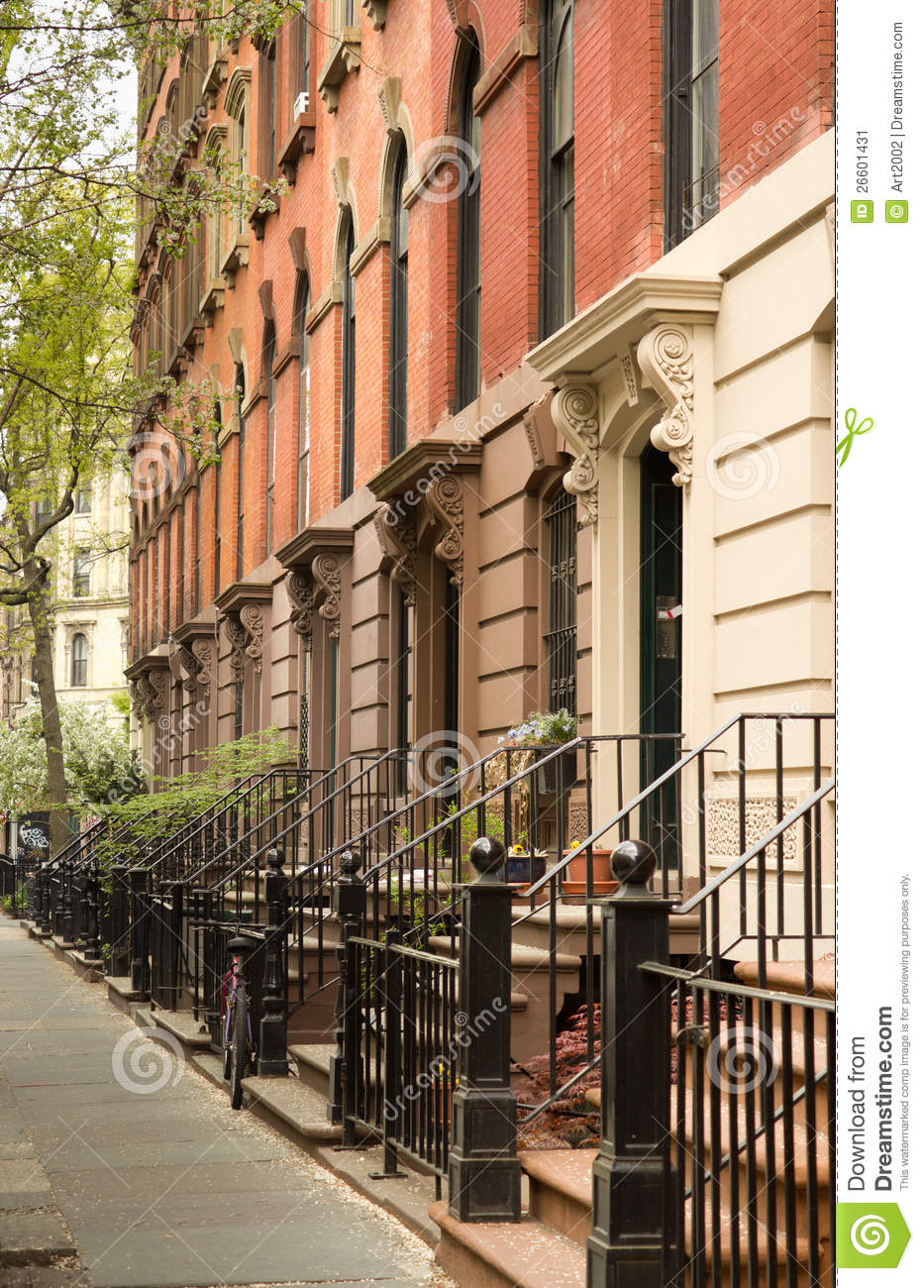 Row of apartments in greenwich village nyc stock image for Nyc greenwich village apartments