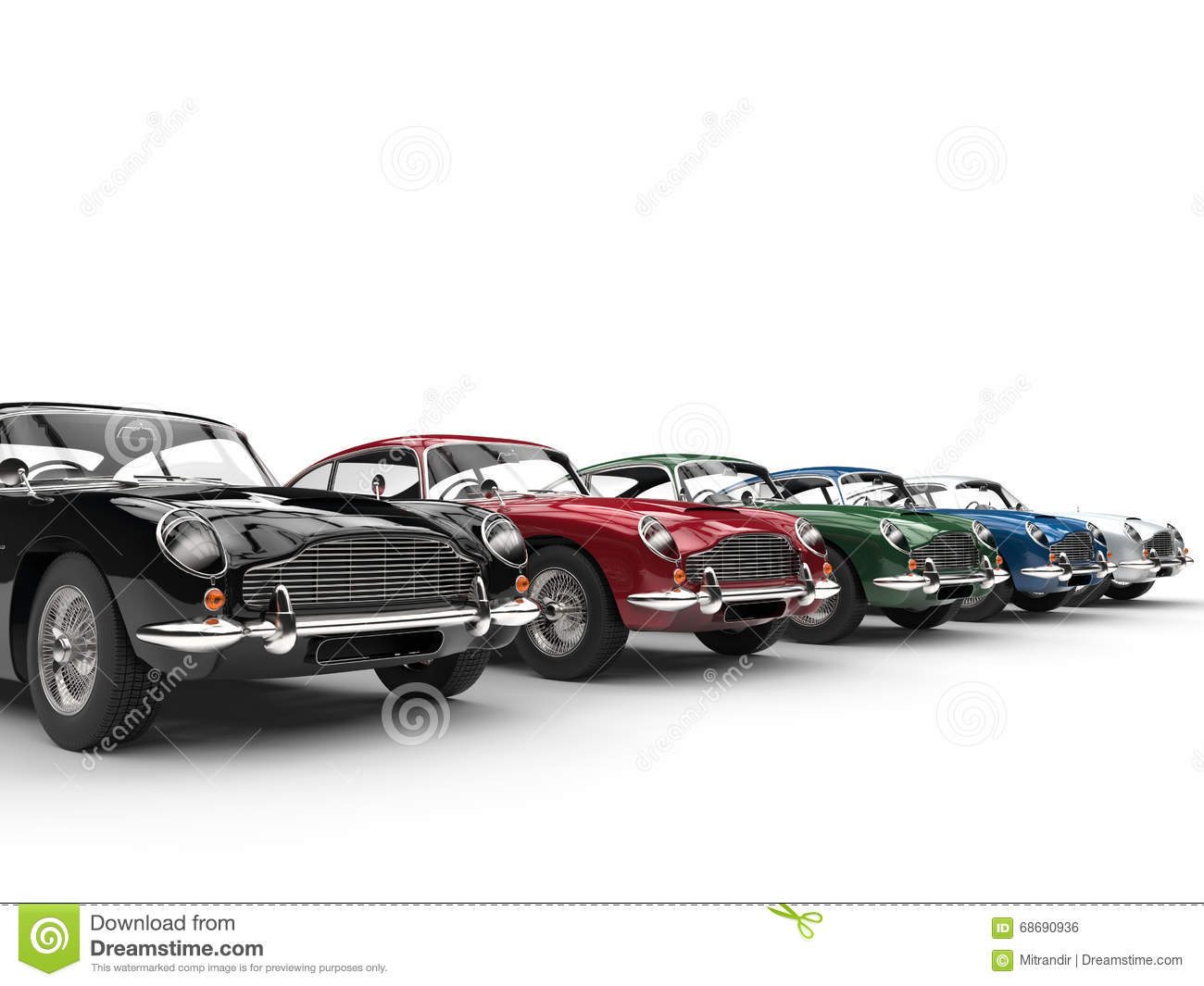Row Of Awesome Vintage Cars On White Background Stock