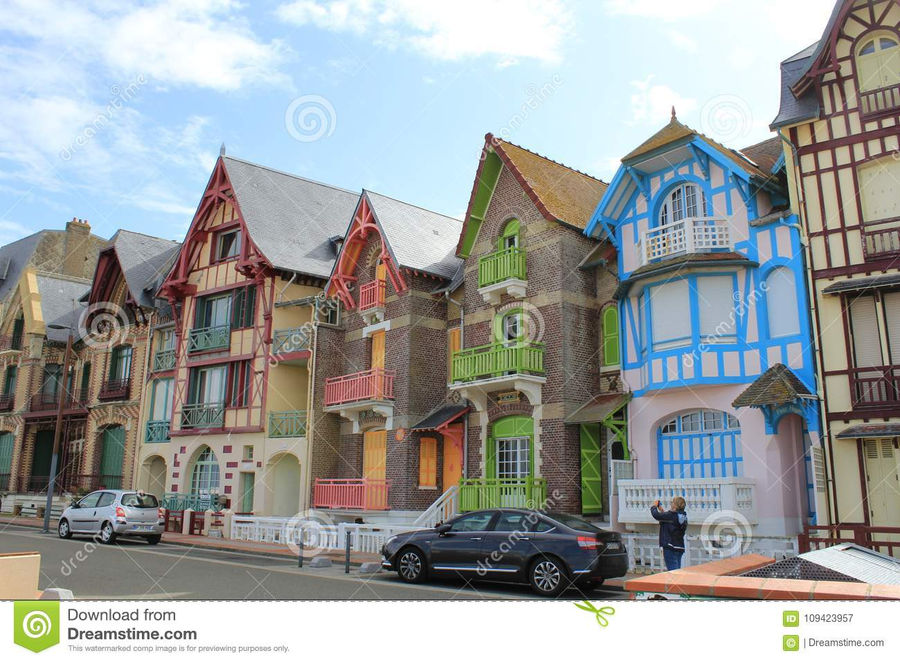 The ancient colorful english style houses at le treport near Dieppe, France