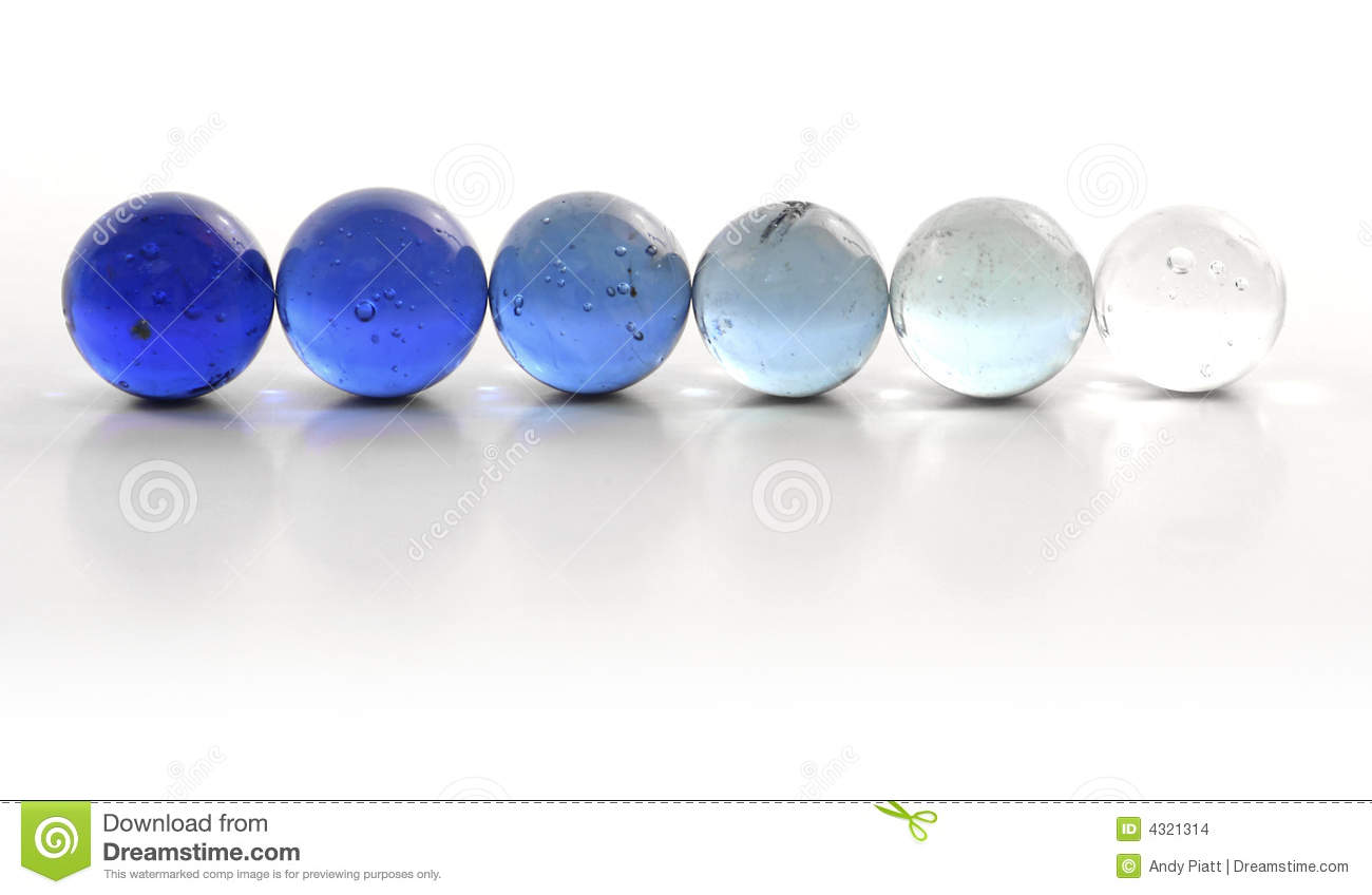 Row of Blue Marbles
