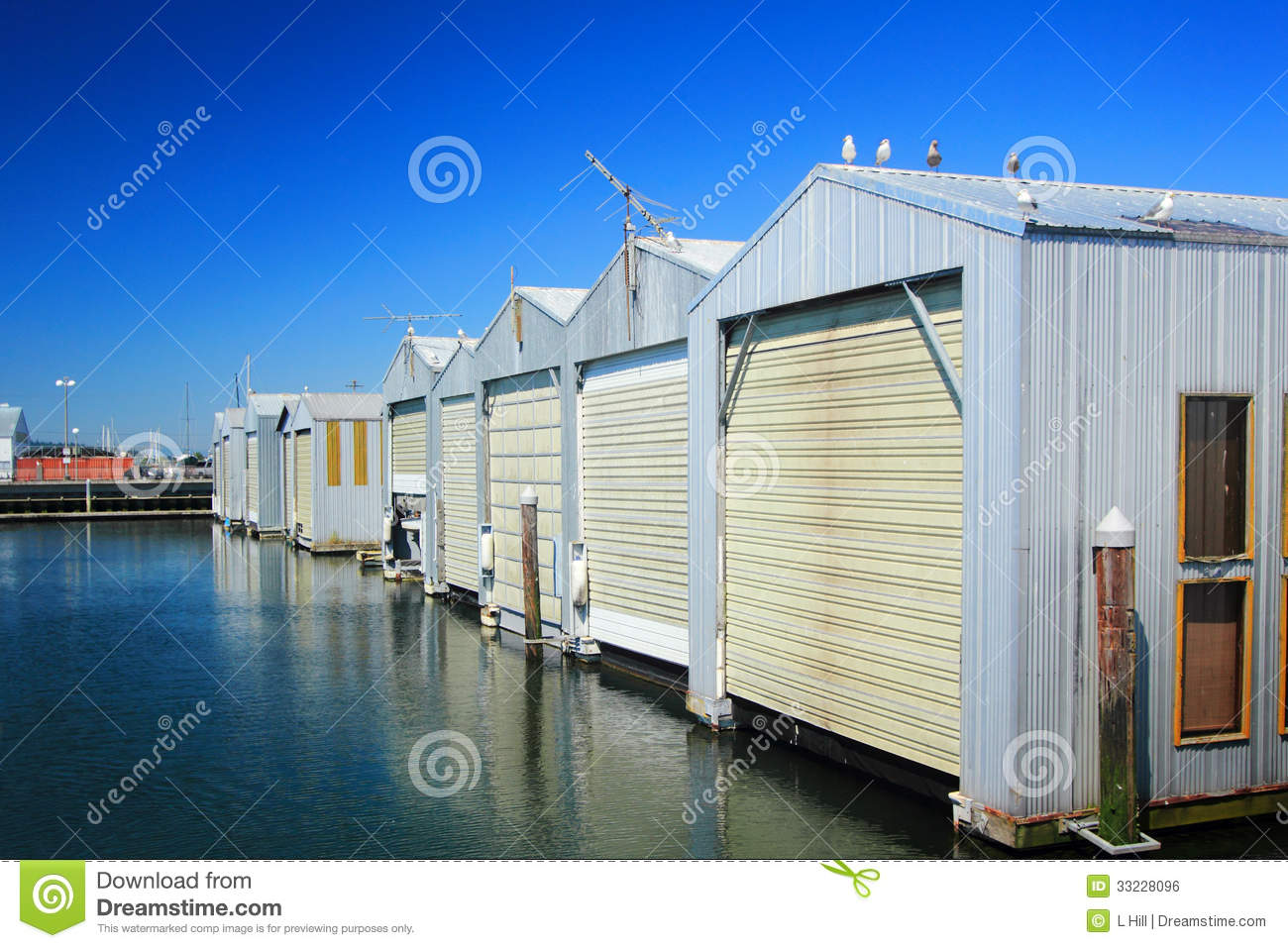 Row of boat garages royalty free stock image image 33228096 for Boat garages