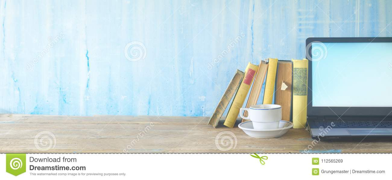 Books, cup of coffee and laptop, learning, education