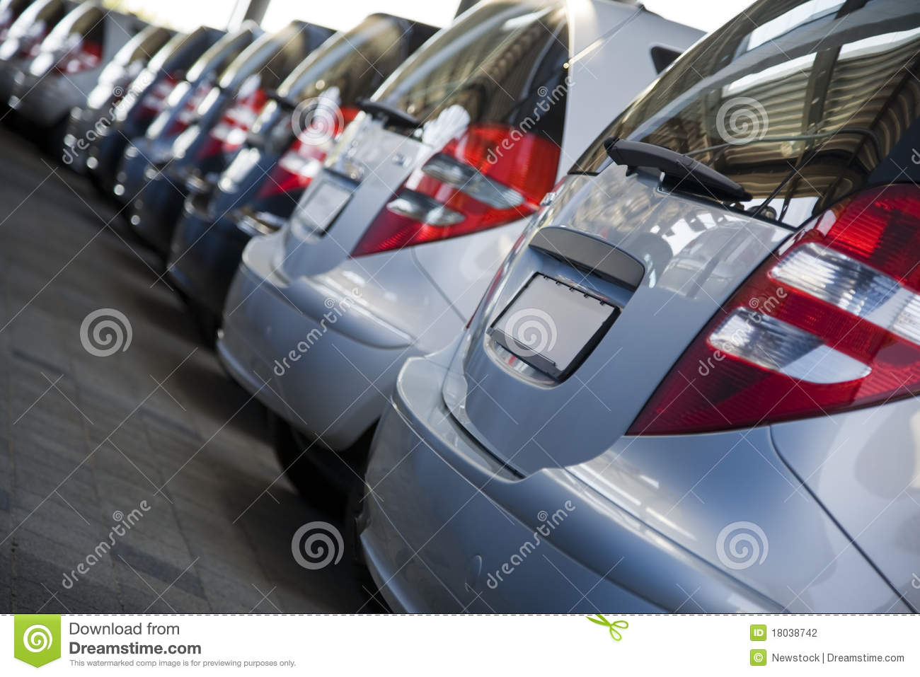 Row of Brand New Cars