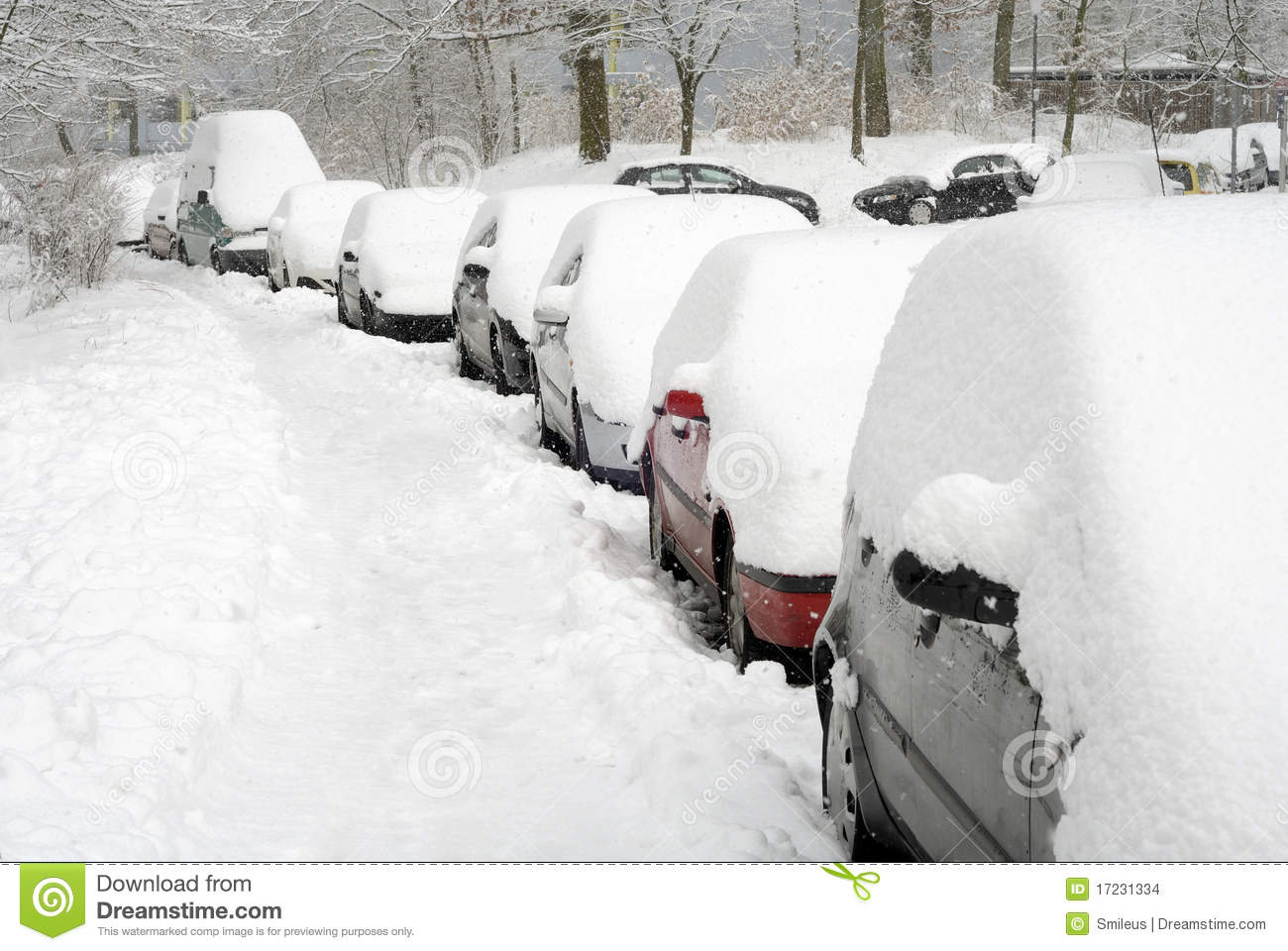 Car Covered In Snow : Row of cars covered in snow stock photo image