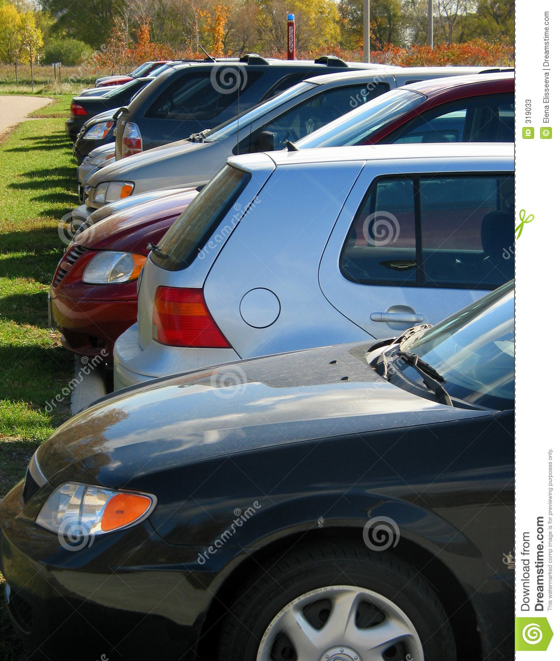 Row of cars in the parking lot