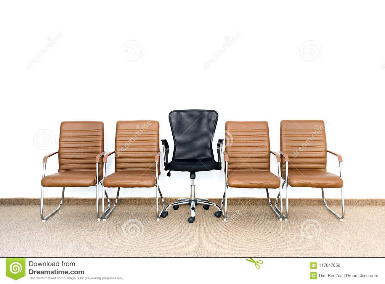 Download Row Of Chairs With One Different Chair In The Middle. Job  Opportunity. Stock
