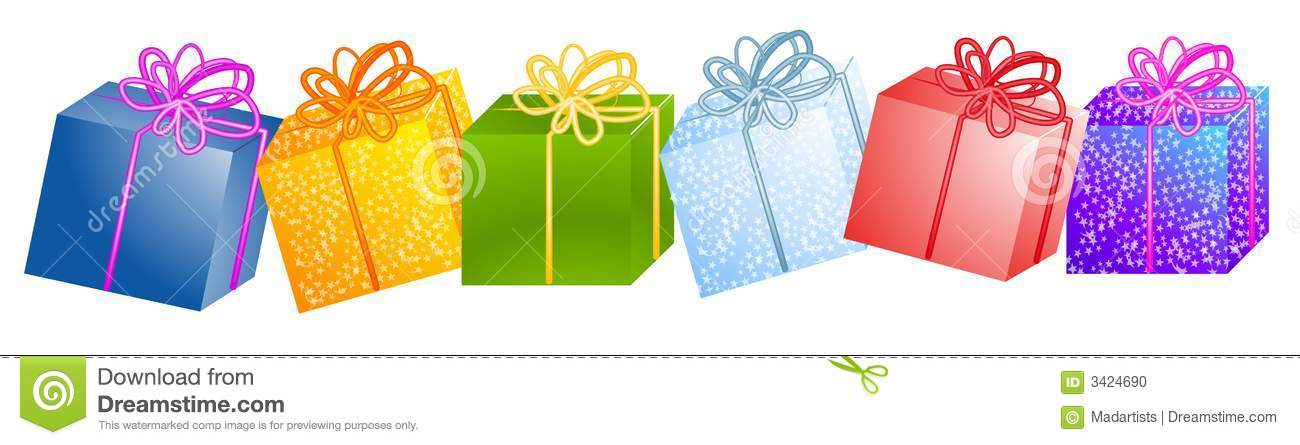 Christmas Presents Clipart.Row Of Christmas Gifts Clipart Stock Illustration