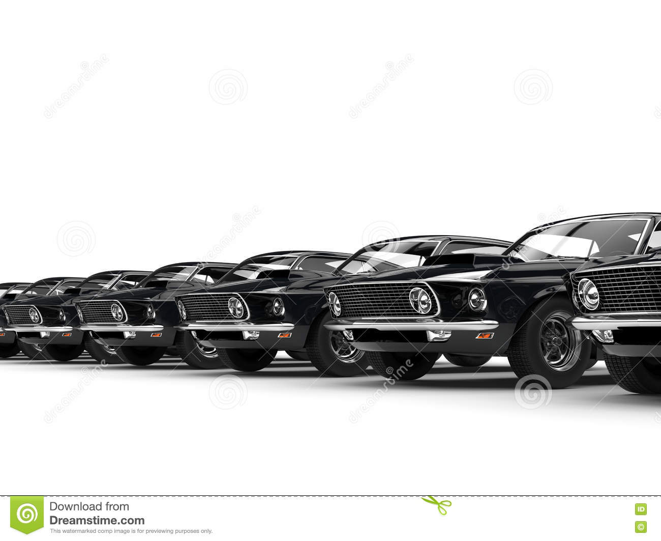 Row Of Classic Black Muscle Cars Stock Illustration Illustration