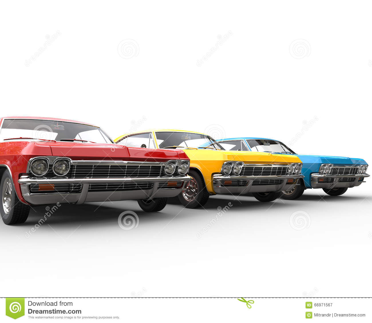 Row Of Classic Muscle Cars Studio Shot Stock Image Image Of
