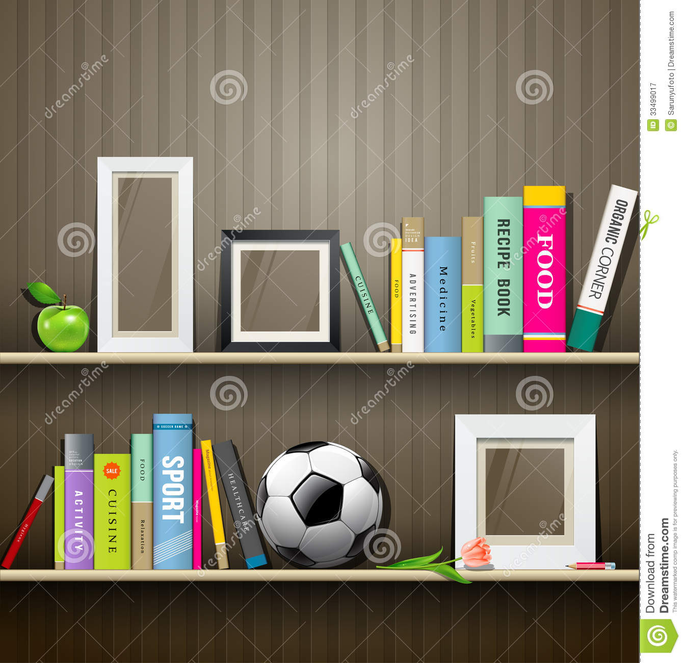 row of colorful books on shelf stock vector
