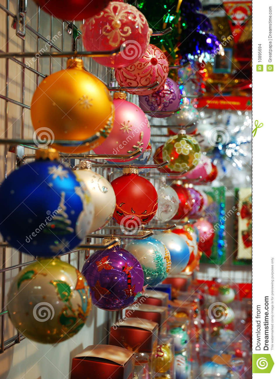 Row of colorful christmas decorations stock images image for Colorful christmas decoration ideas
