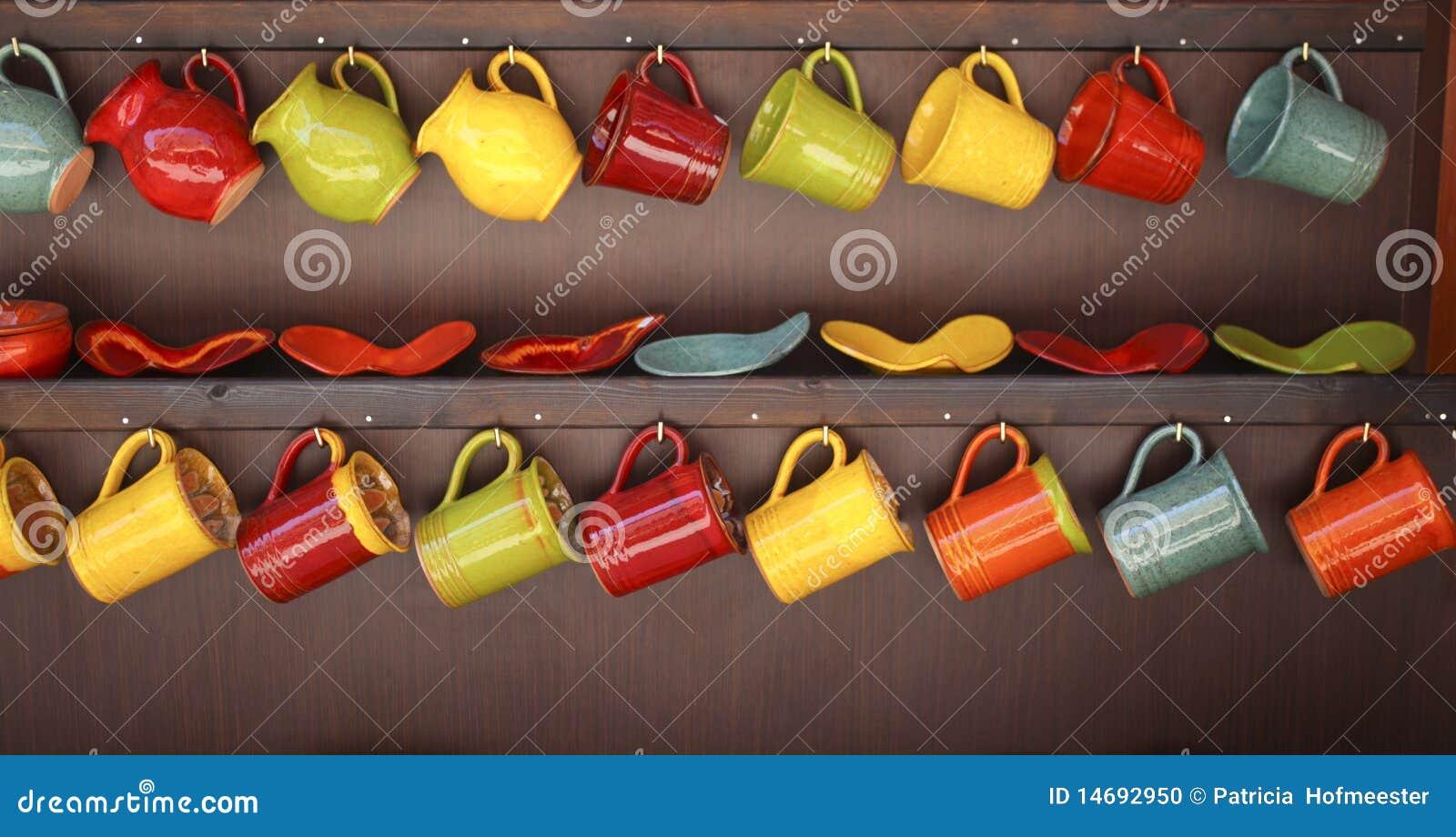 row of colorful mugs - Colorful Mugs