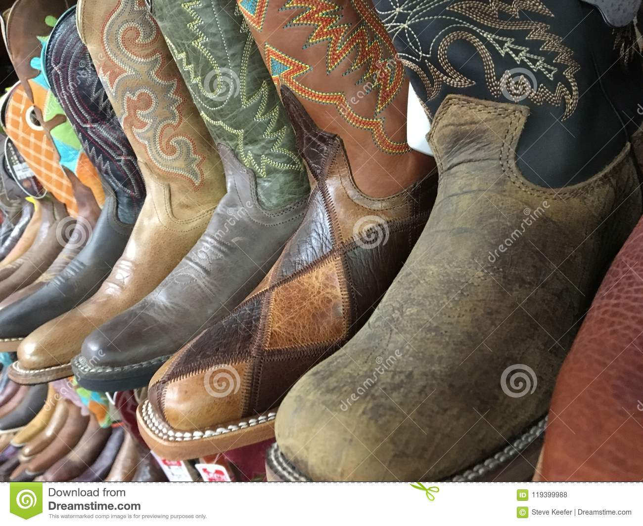 929f5da0a7f A row of cowboy boots stock photo. Image of sales, country - 119399988