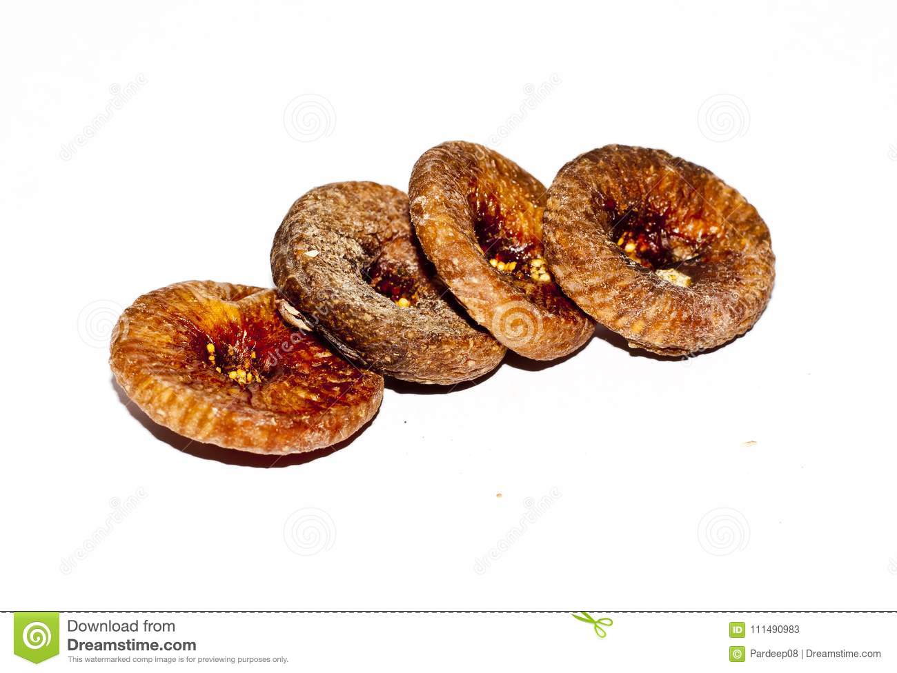 A row of dried figs