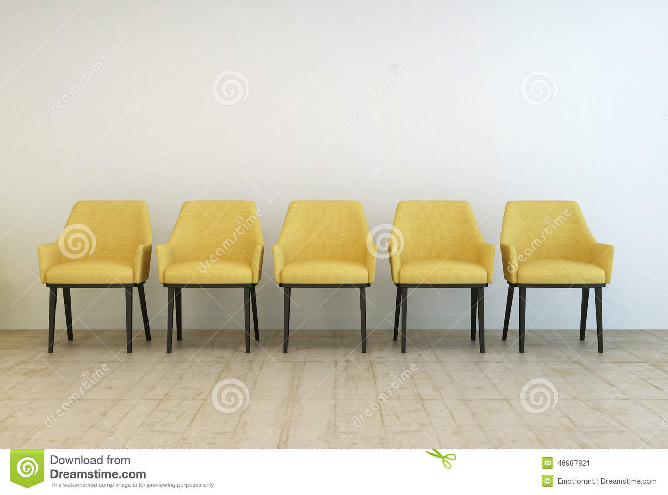 Row Of Empty Chairs Against A Wall Stock Illustration - Illustration ...