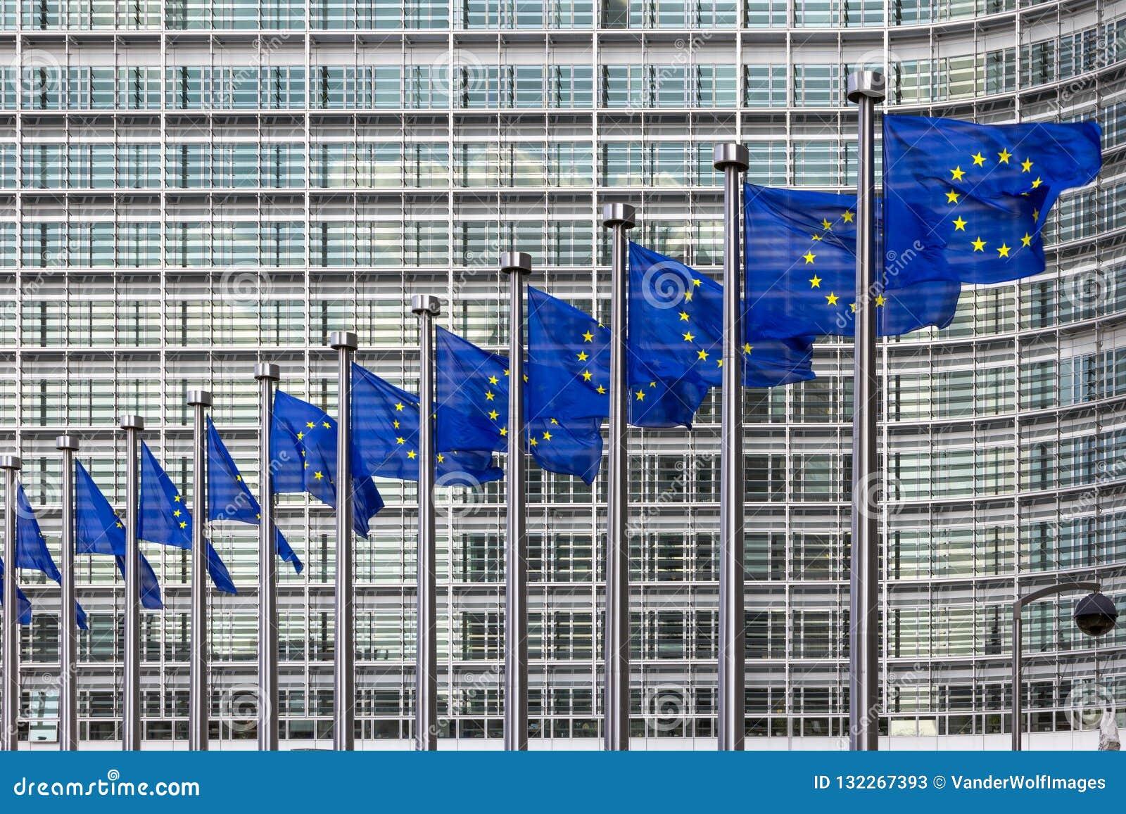 EU Flag in European Union building Brussels