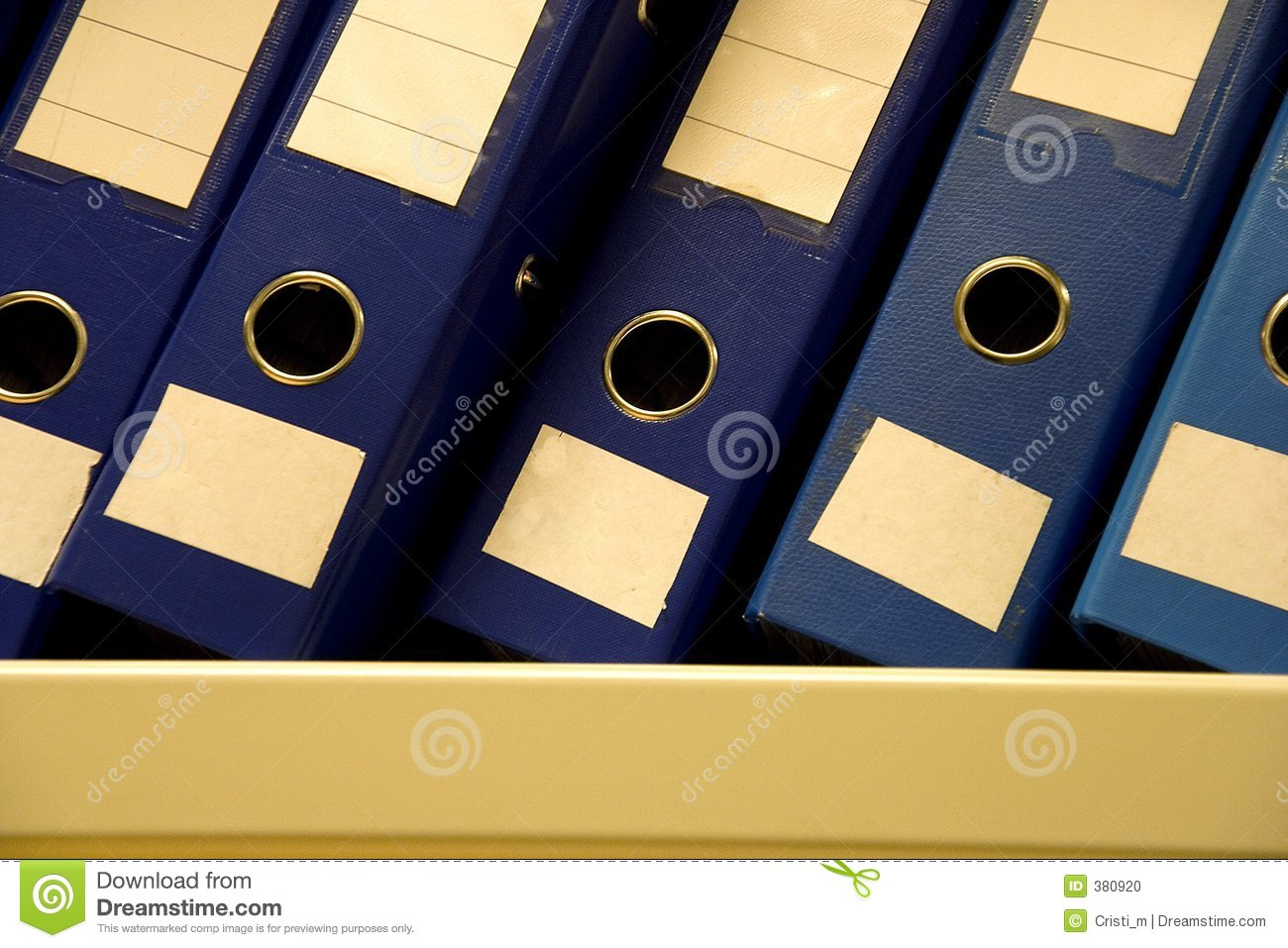 A row of files