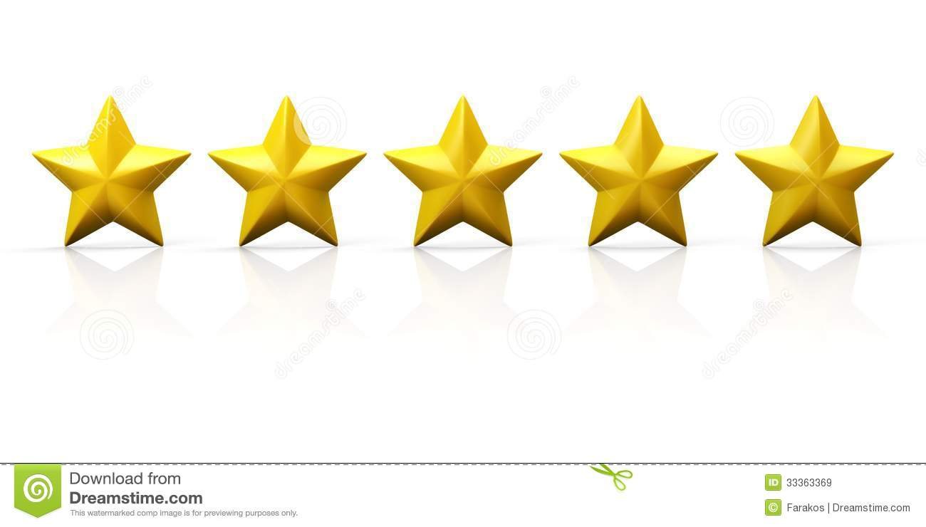 row of five yellow stars on glossy plane royalty free