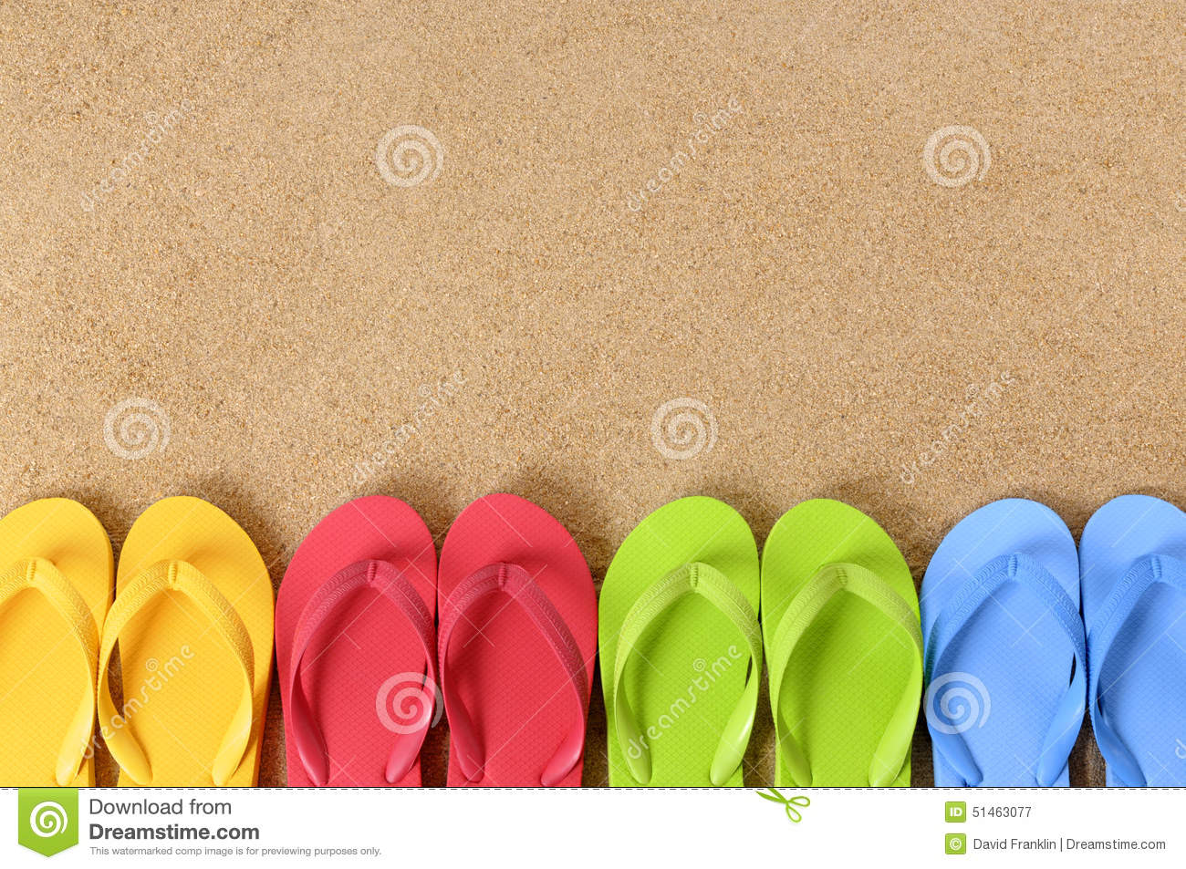 Flip flops row summer beach background border copy space