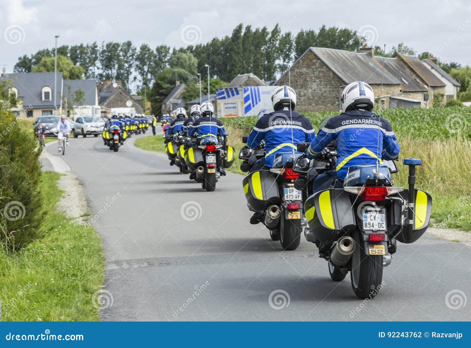 Row of French Policemen on Bikes - Tour de France 2016