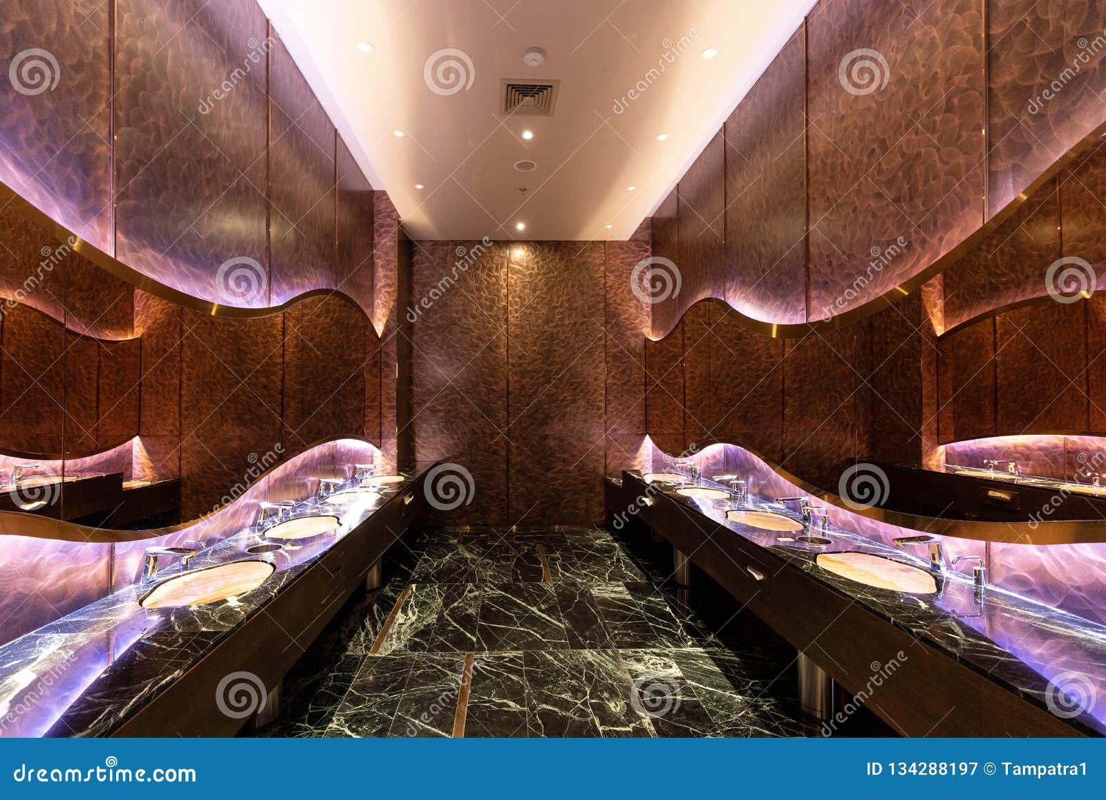 Row Of Futuristic Modern Marble Ceramic Wash Basin In ...