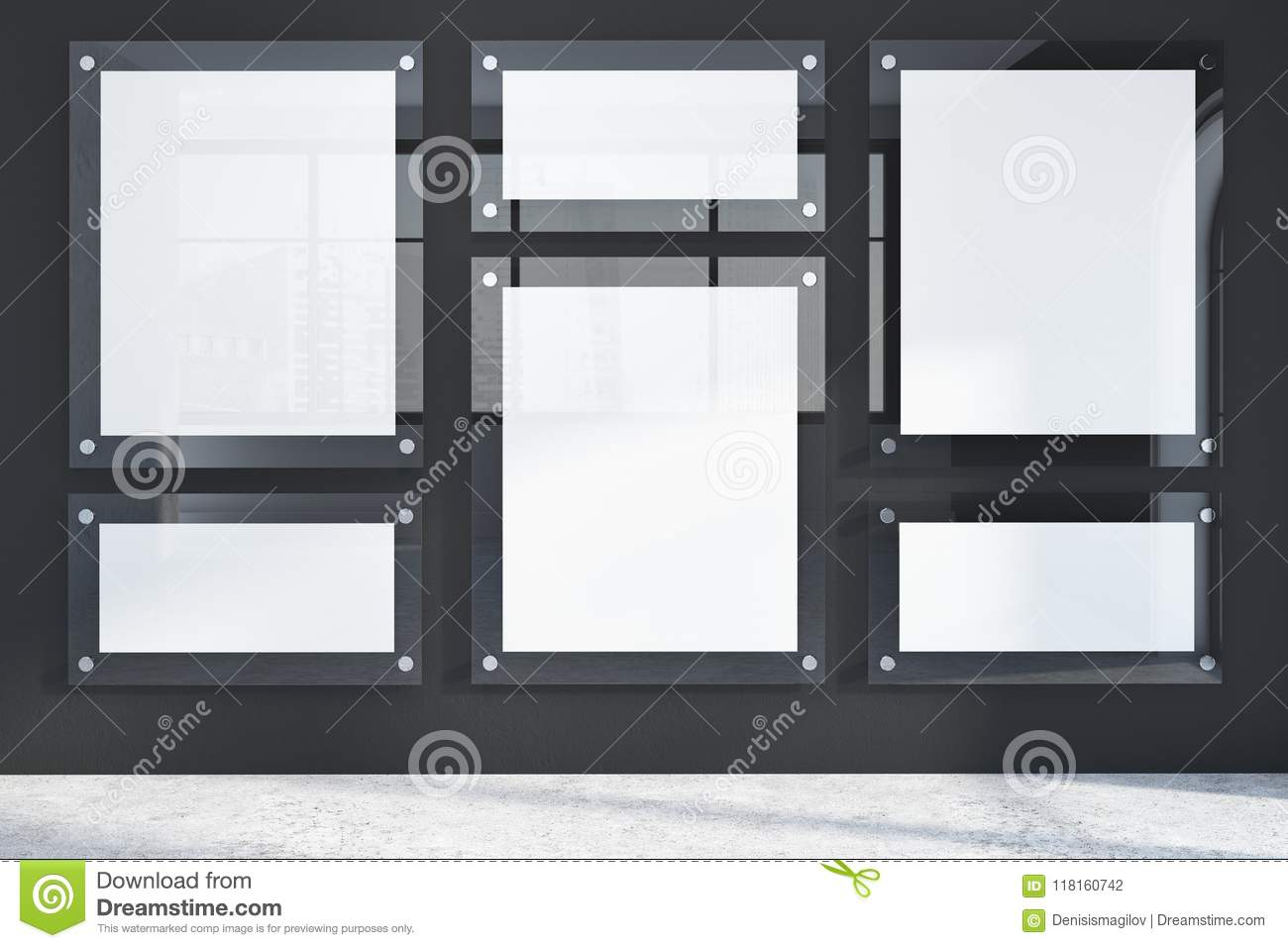 Download row of glass frame posters in a black wall room stock illustration illustration of