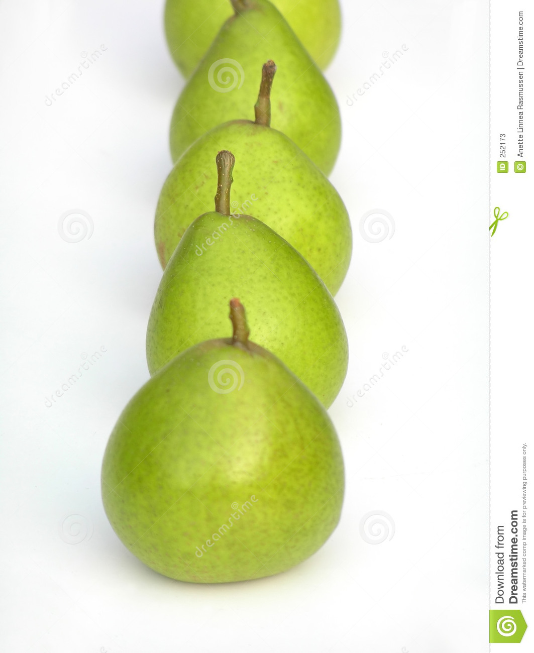 Row of green pears