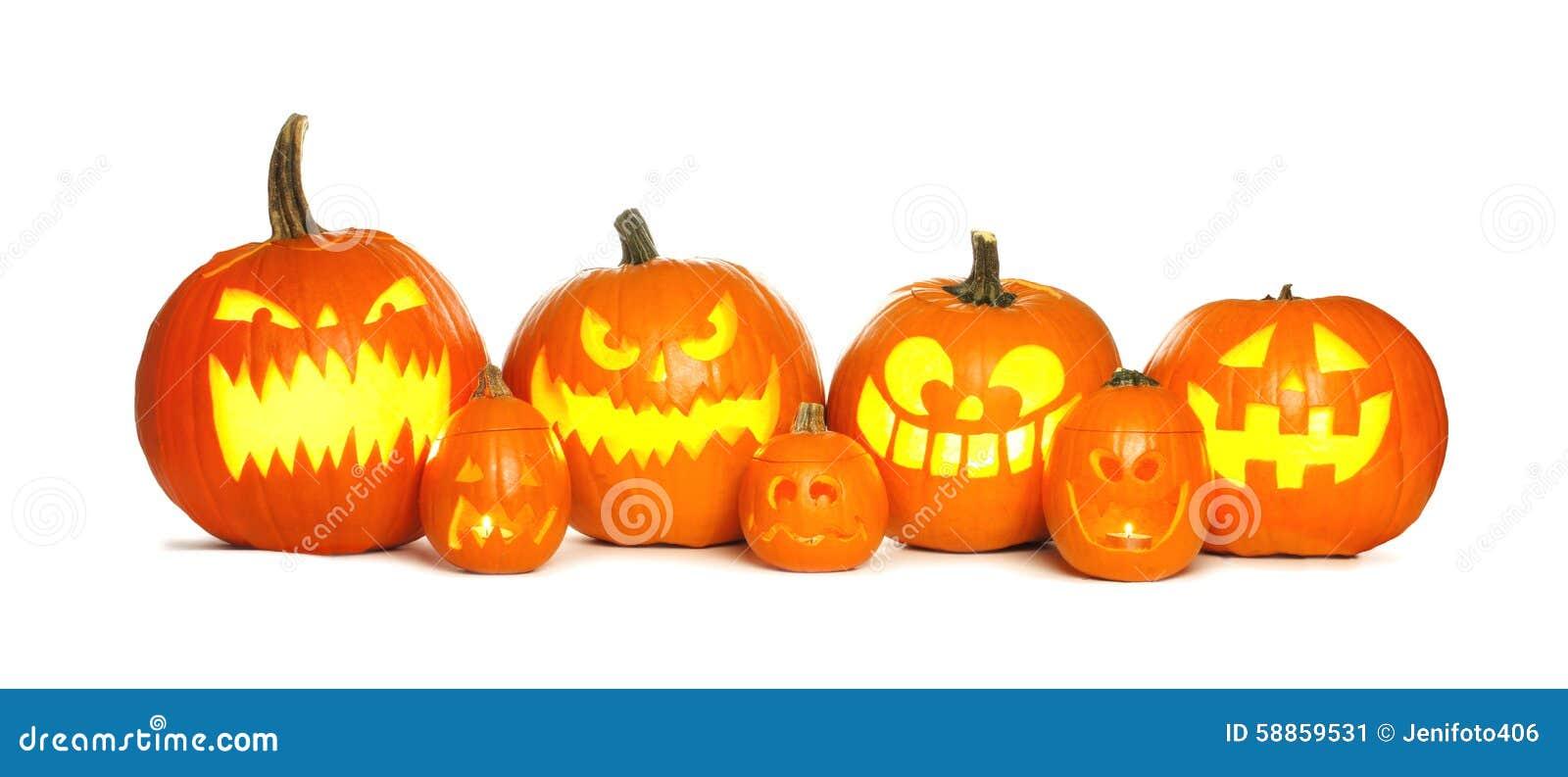 Row Of Halloween Jack O Lanterns Over White Stock Photo 58859531 ...