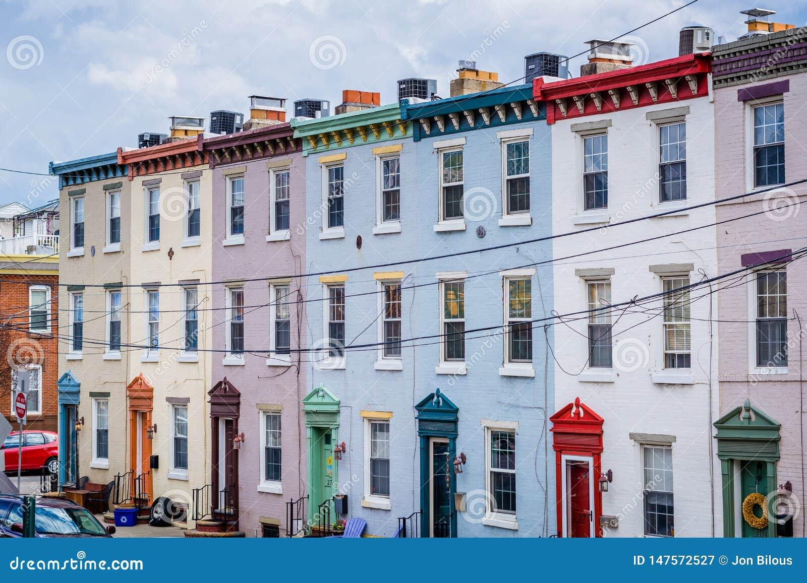 Row houses along Schuylkill Avenue in Philadelphia, Pennsylvania