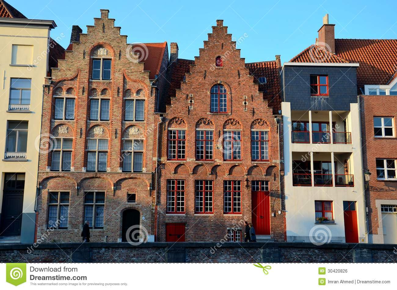 Row of houses in bruges belgium editorial photo image 30420826 - Small belgian houses brick ...
