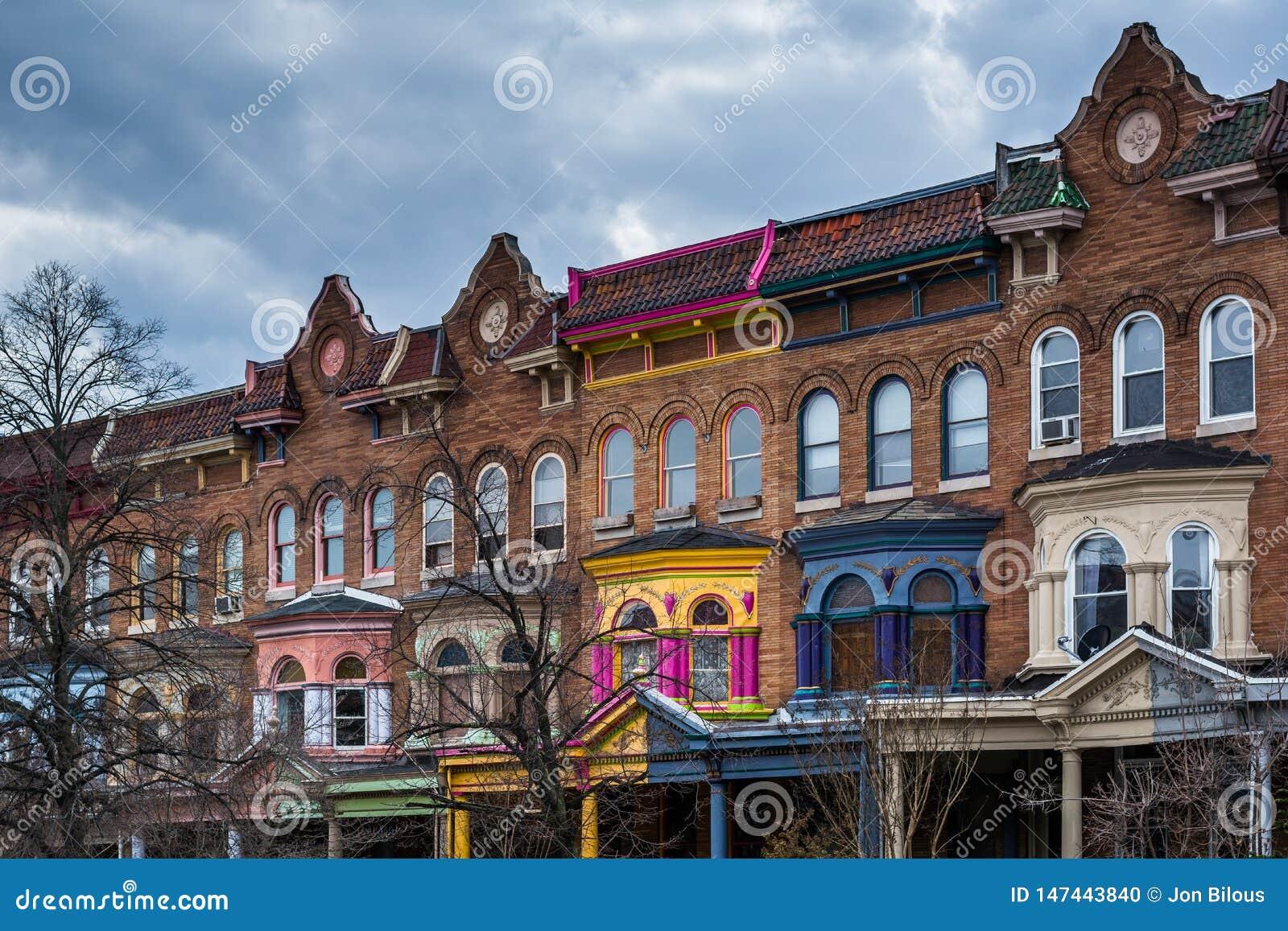 Row houses on Calvert Street in Charles Village, Baltimore, Maryland