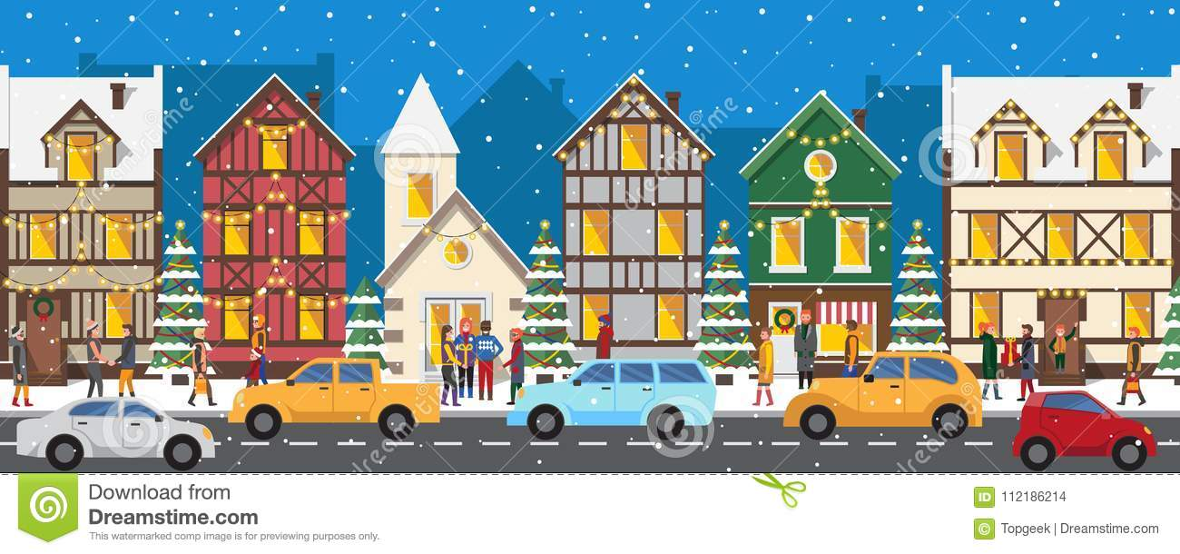 Remarkable Row Of Houses Decorated With Luminous Garlands Stock Vector Interior Design Ideas Skatsoteloinfo