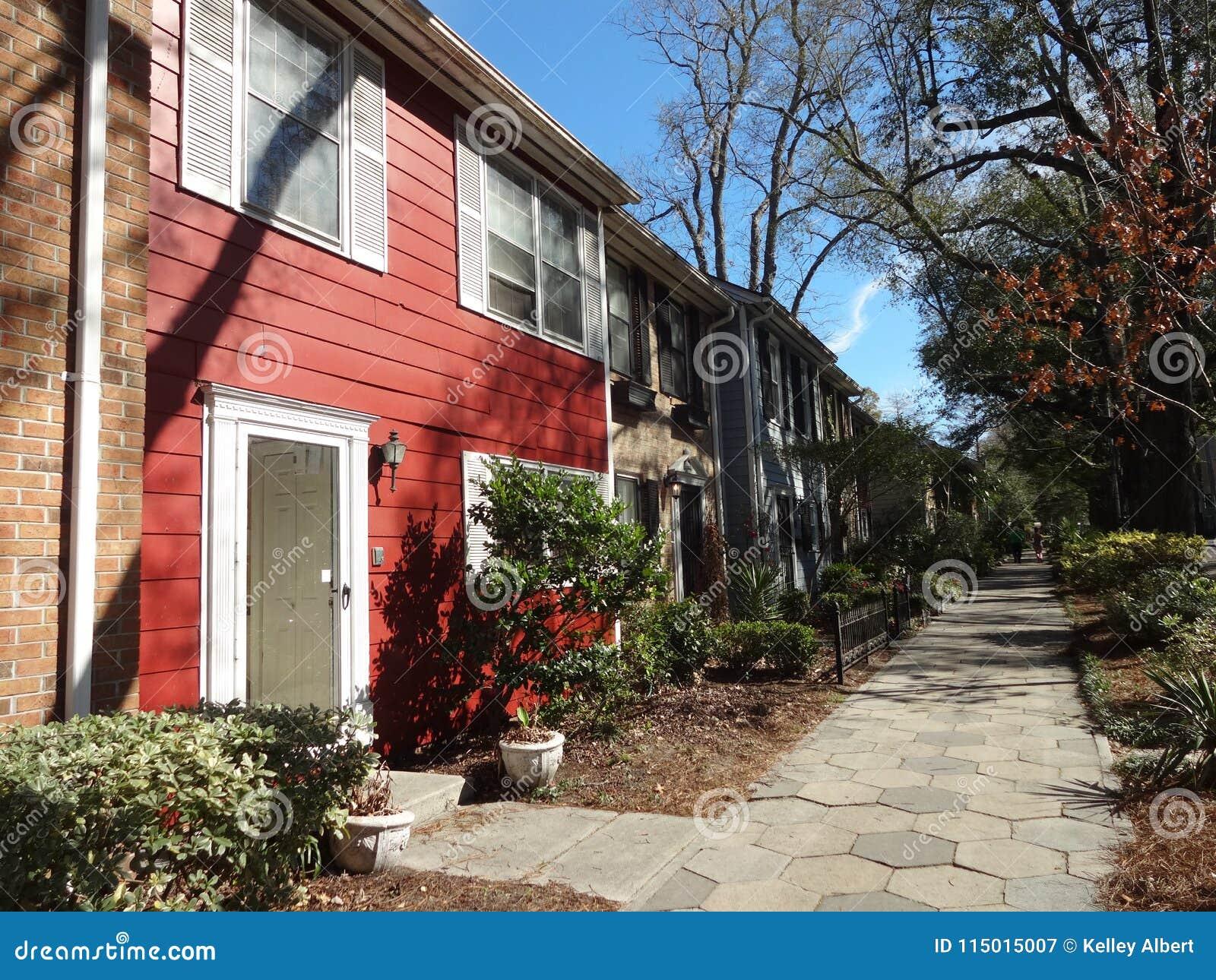 Row houses in a downtown neighborhood in Wilmington, North Carolina