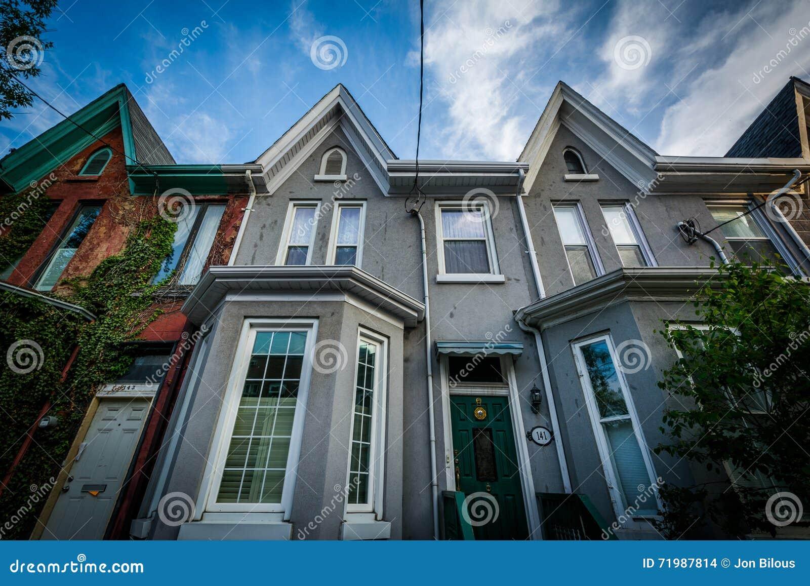 Row houses in the Garden District, Toronto, Ontario.