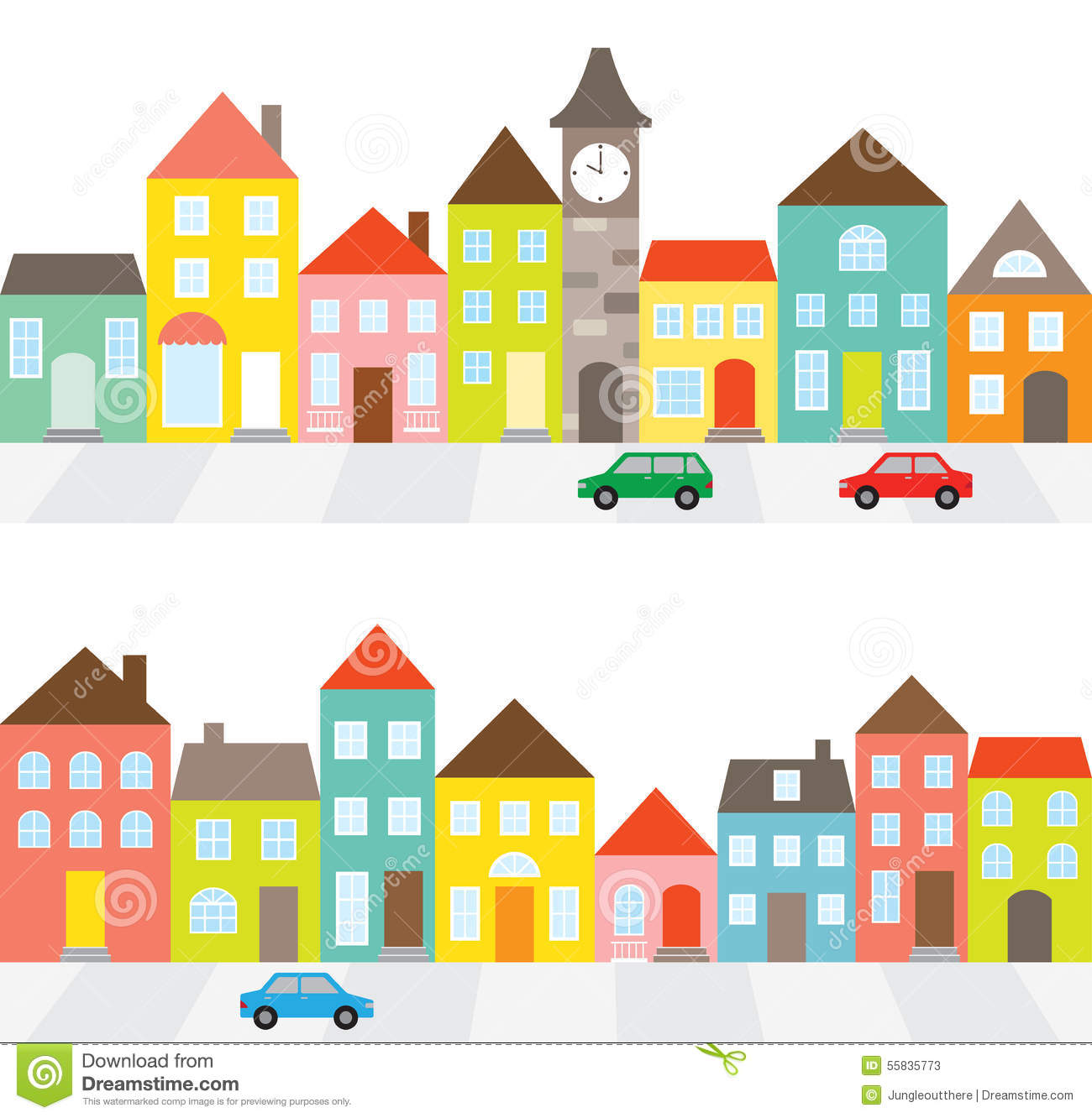 Row Of Houses Stock Vector - Image: 55835773