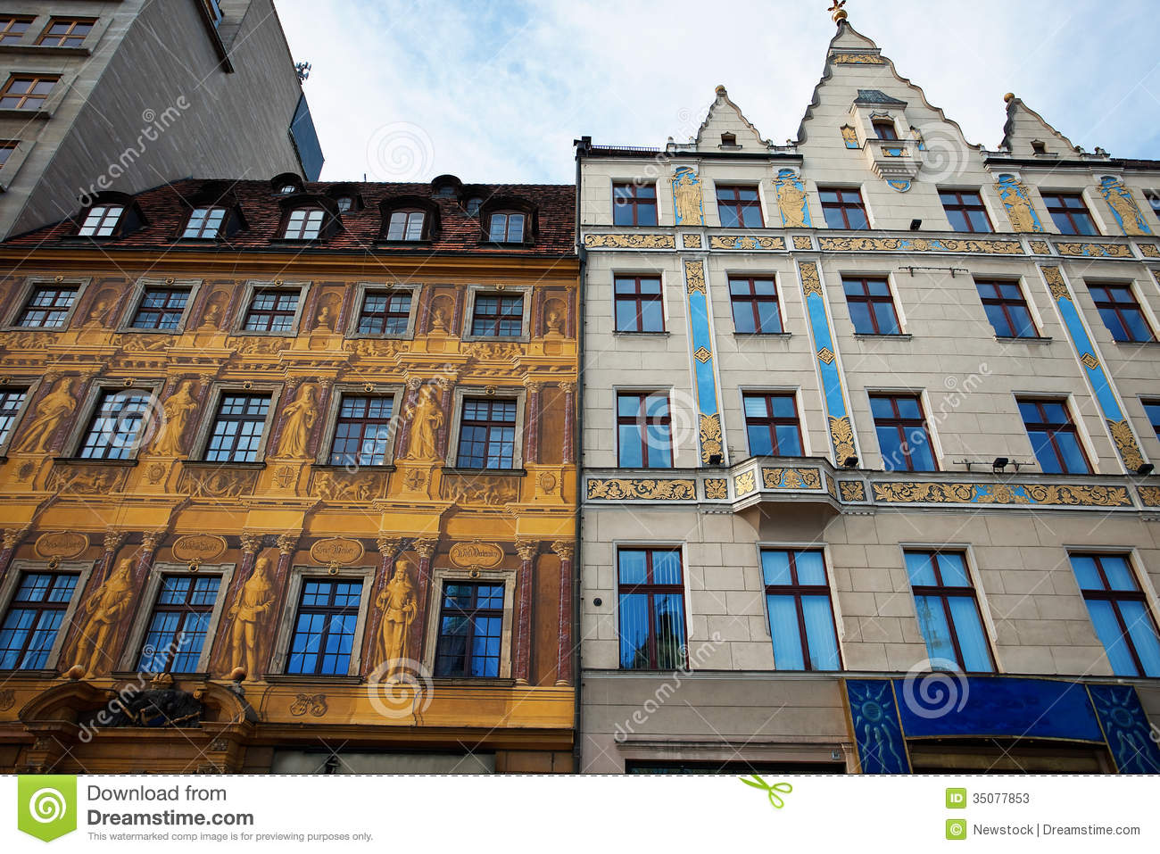 Row Houses On Market Square In Wroclaw Poland Stock