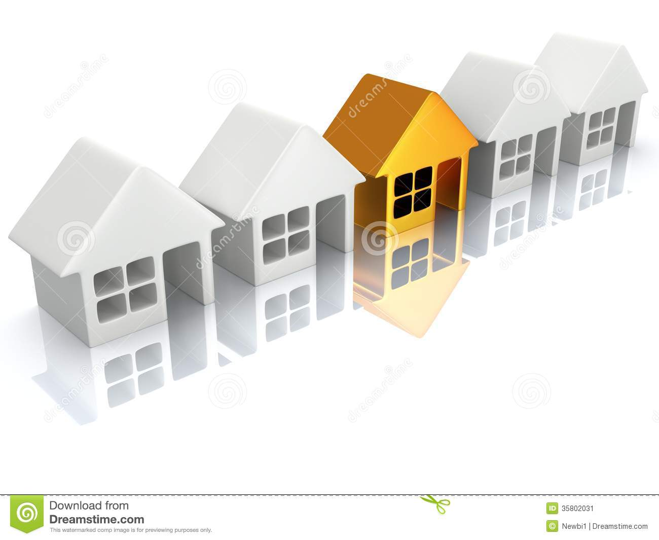 row of houses with reflection 3d render stock image