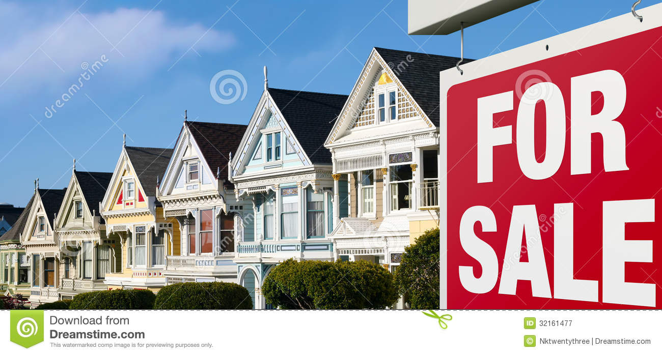 Row houses for sale in san francisco royalty free stock for Mansions in san francisco for sale