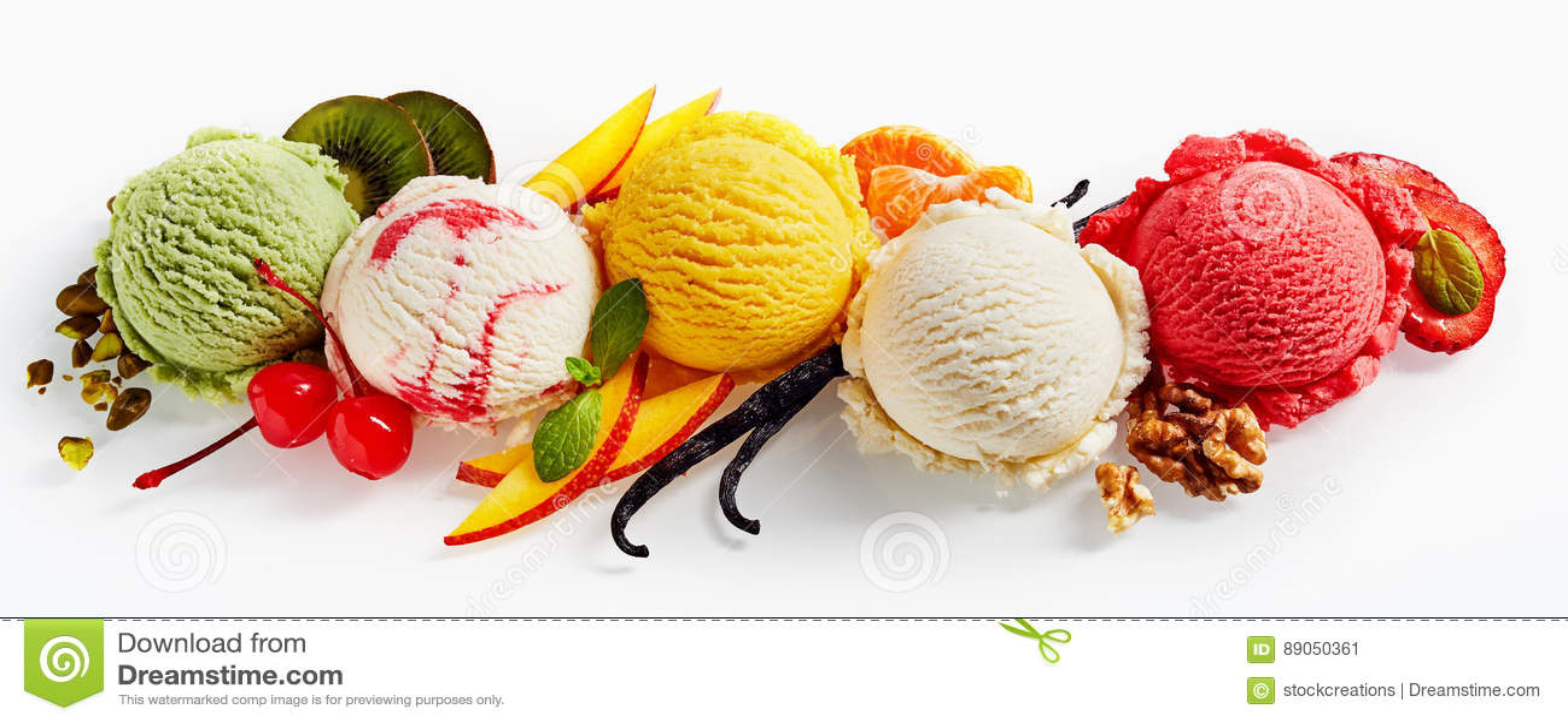 Row Of Ice Cream Scoops Stock Image Image Of Ice