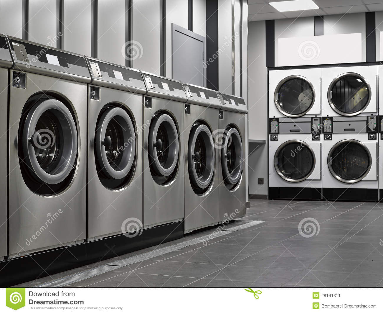 Fine Row Of Washing Machines Industrial Stock Image I And Design Decorating