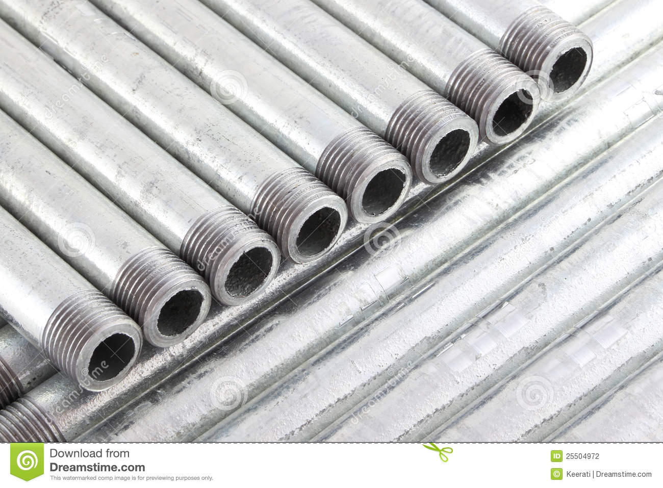 Row of iron water pipe with strand stock photo image for Water line pipe material