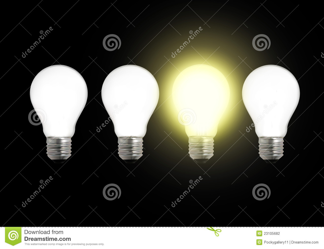 Row Of Light Bulbs With One Different Stock Illustration