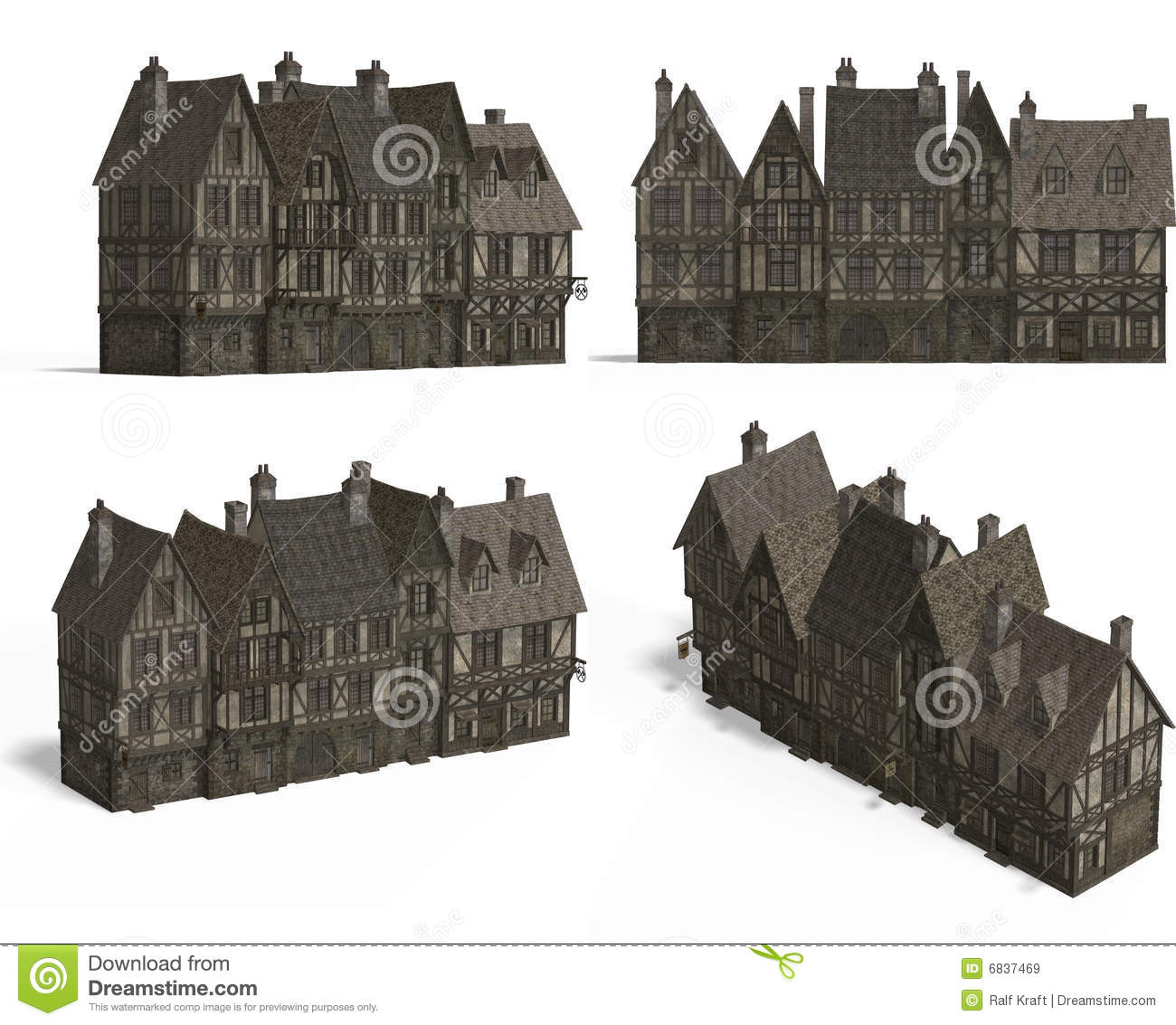 Row Of Medieval Houses Royalty Free Stock Images Image